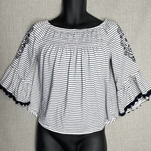 Maurices Embroidered Striped Flowy Top S